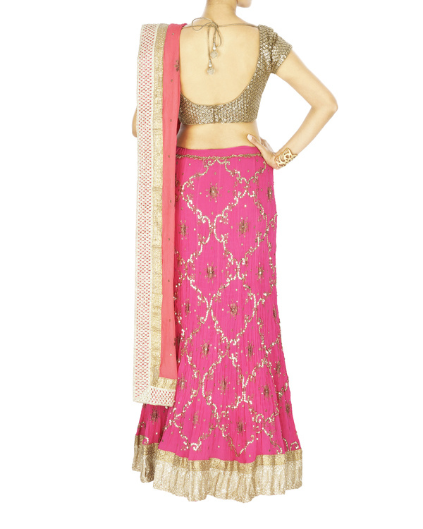 Fuscia pink georgette lehenga with chiffon dupatta and sequence blouse 2