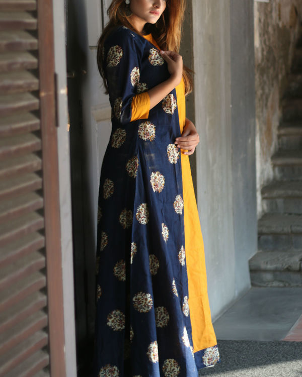 Mustard and navy cape dress 1