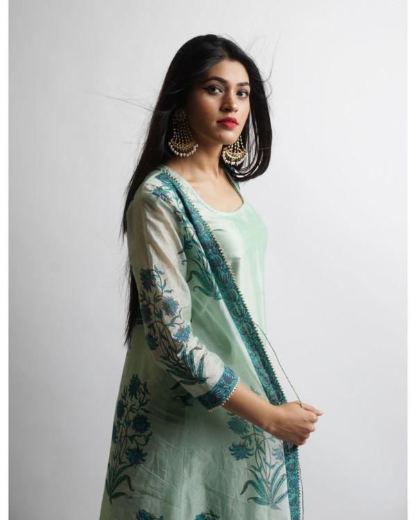Sea green mughal maxi jacket set 1