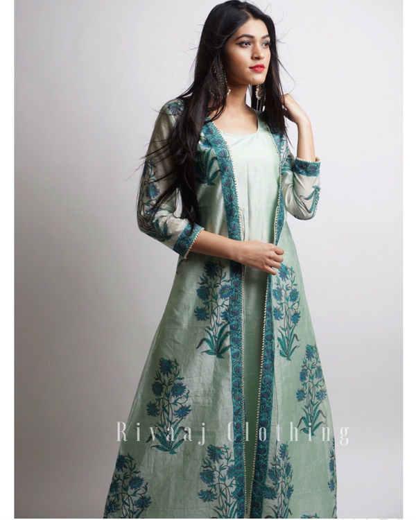 Sea green mughal maxi jacket set 2