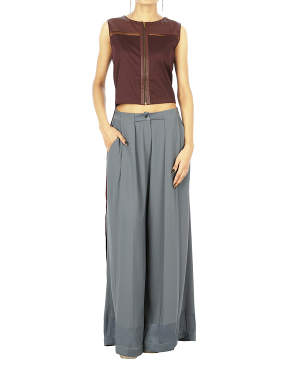 Grey pleat trousers 1
