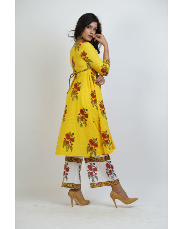 Yellow block printed tunic with panelled palazzo pants 1