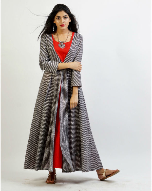 Grey flared leheria jacket with red maxi 1