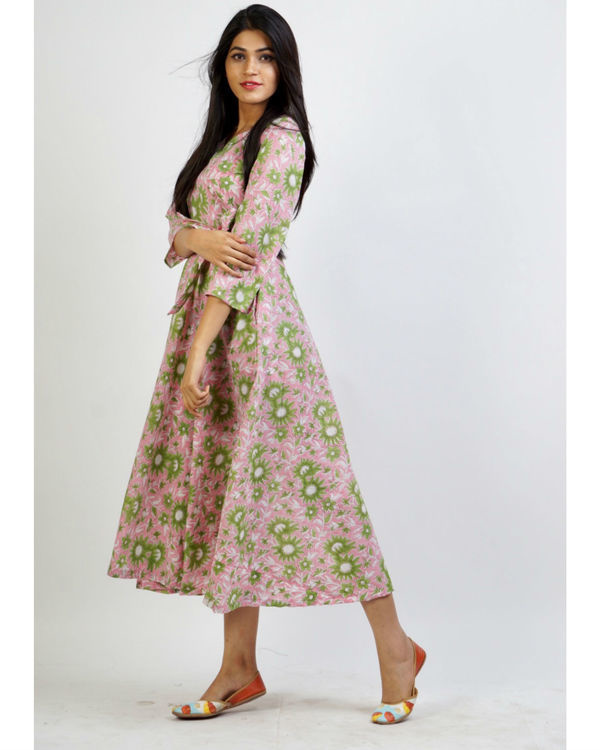 Pink floral fit and flare maxi 2