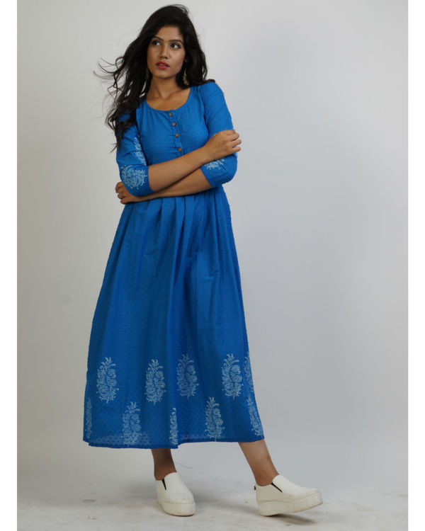 Blue panel block printed maxi 1