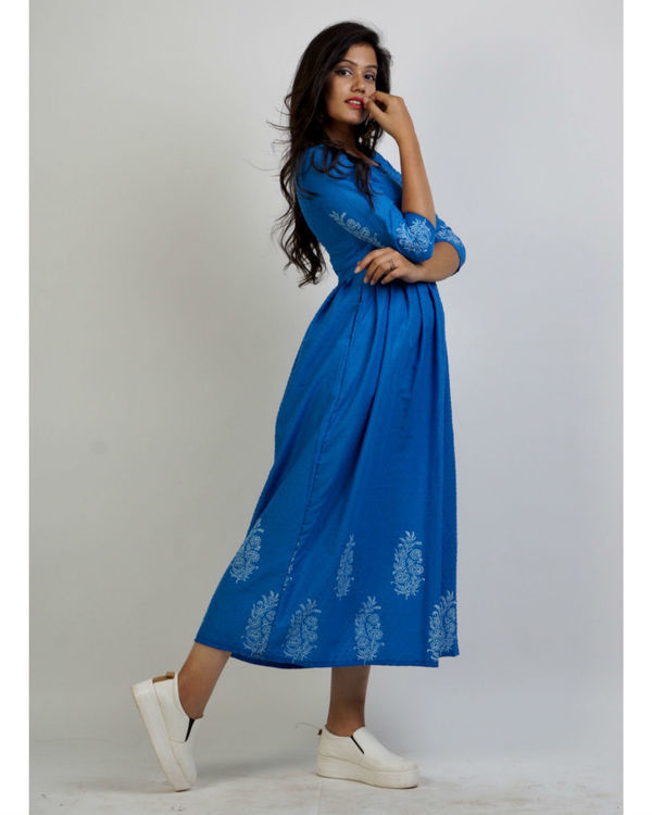 Blue panel block printed maxi 2