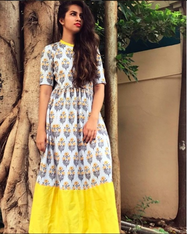 Yellow border printed maxi 1