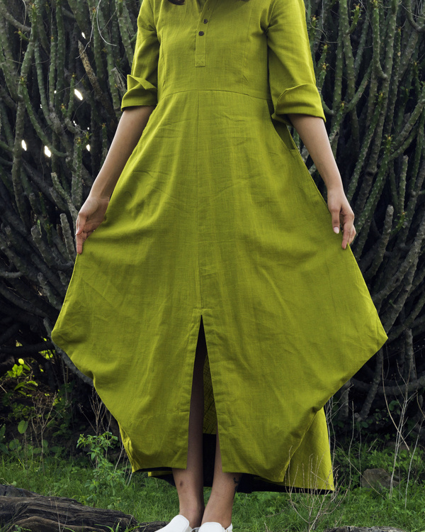 Lime Green asymmetric dress 1