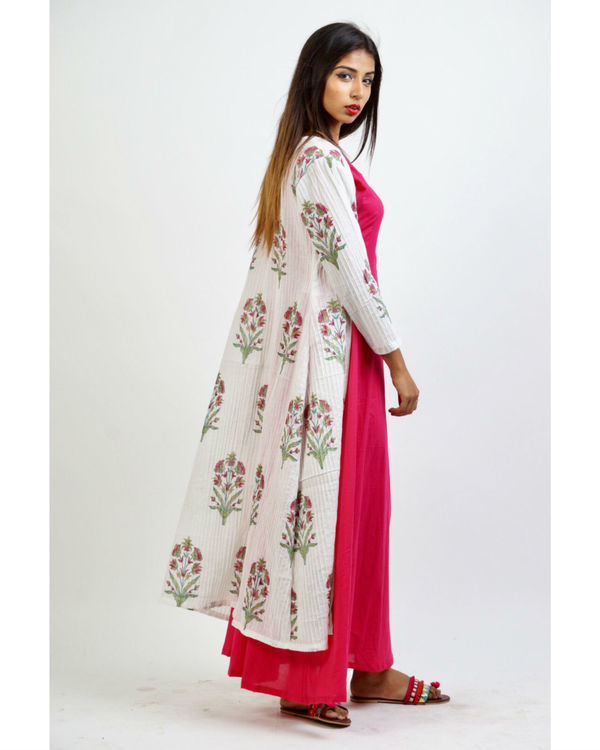 Pink maxi with floral print jacket 1