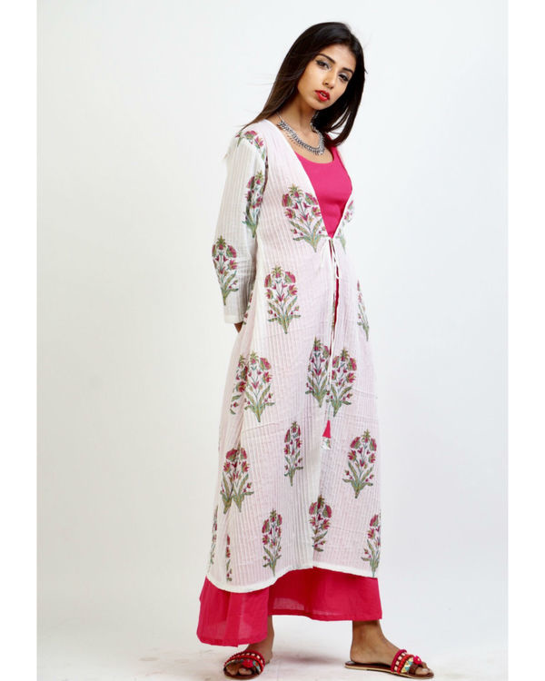 Pink maxi with floral print jacket 2