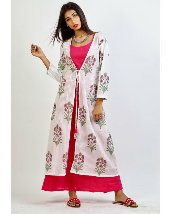 Pink maxi with floral print jacket 3