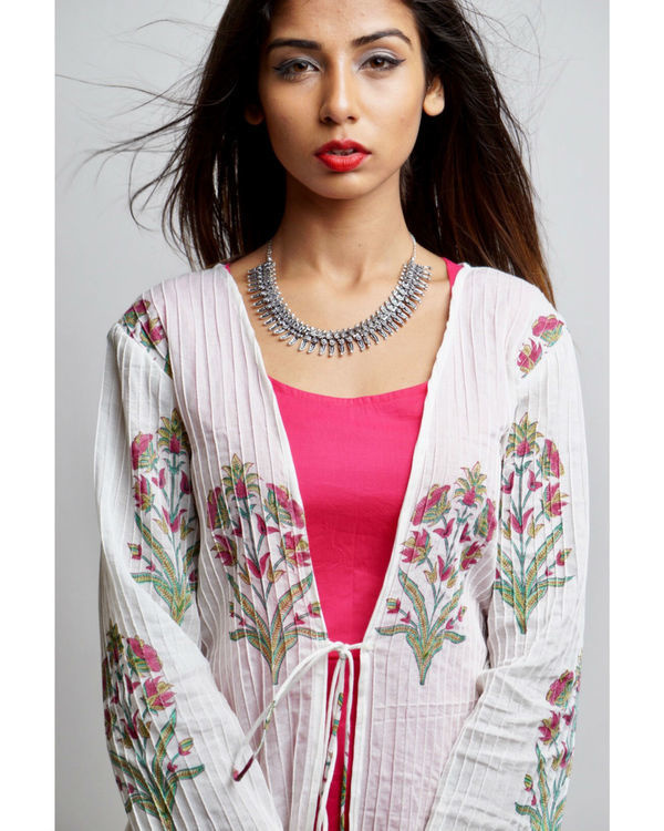 Pink maxi with floral print jacket 4