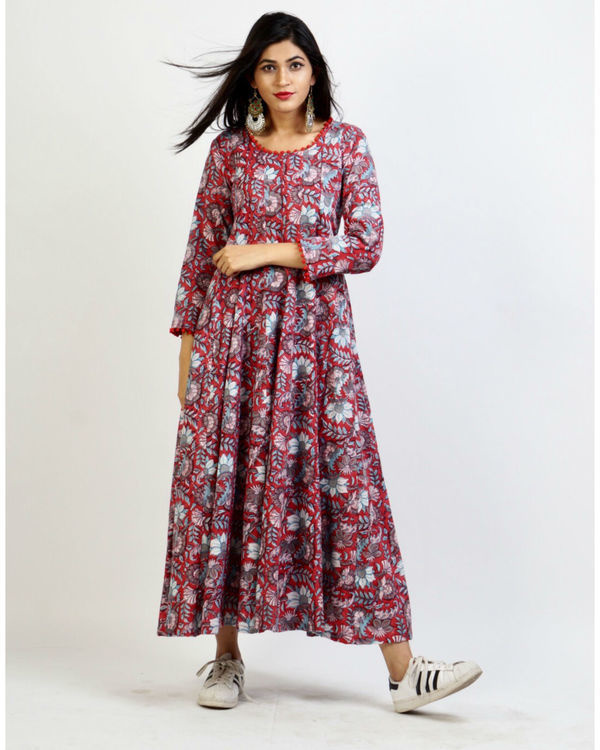 Cranberry floral maxi 2