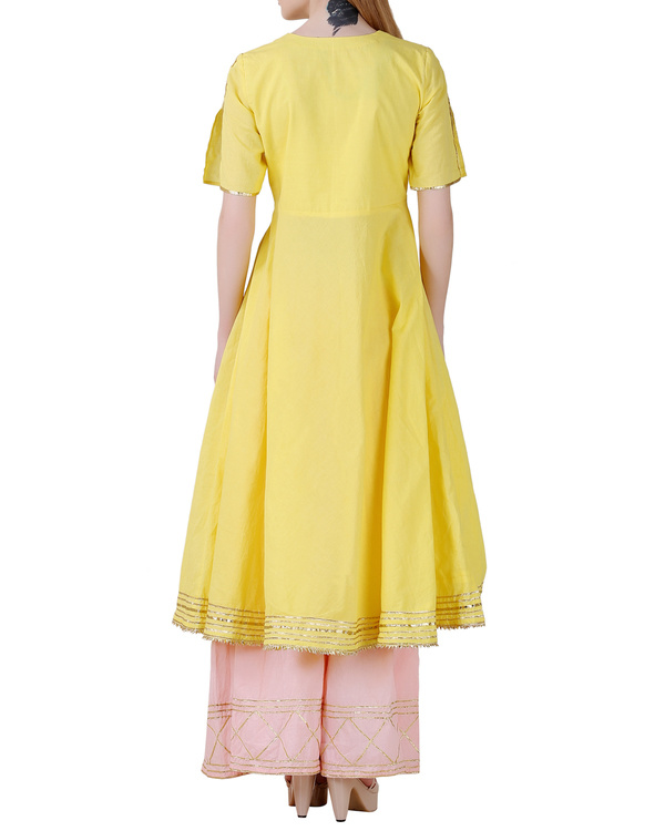Bright yellow angrakha sharara set 1