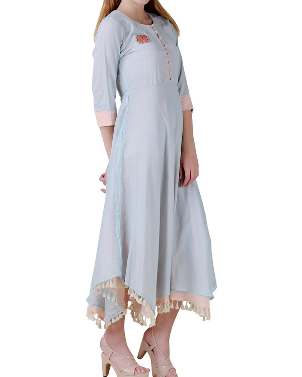 Pale blue high low double layered dress 1
