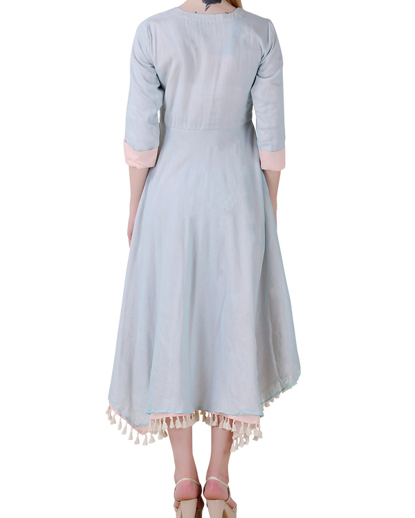 Pale blue high low double layered dress 2