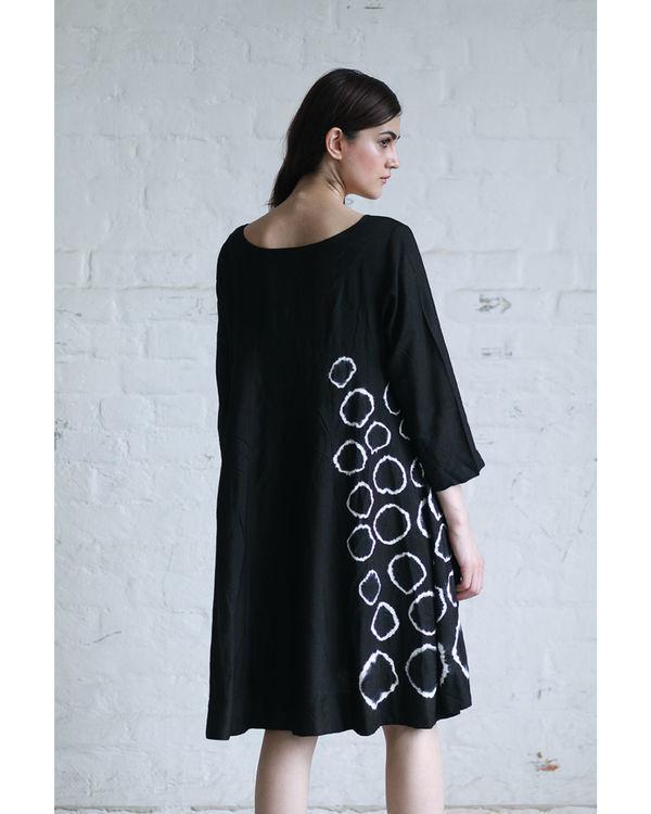 Black shibori flared dress 1