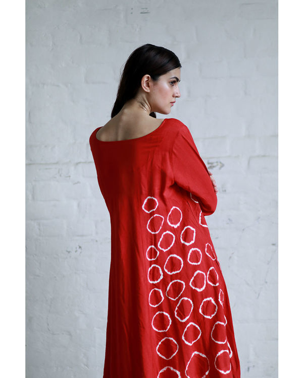Red shibori flared dress 1