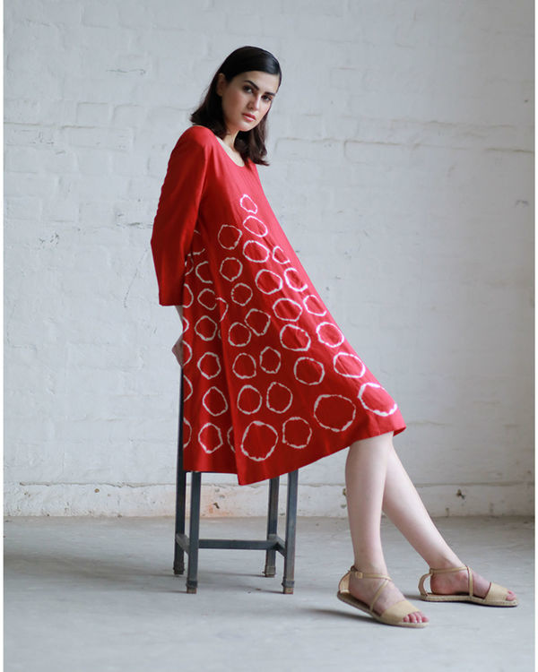 Red shibori flared dress 2