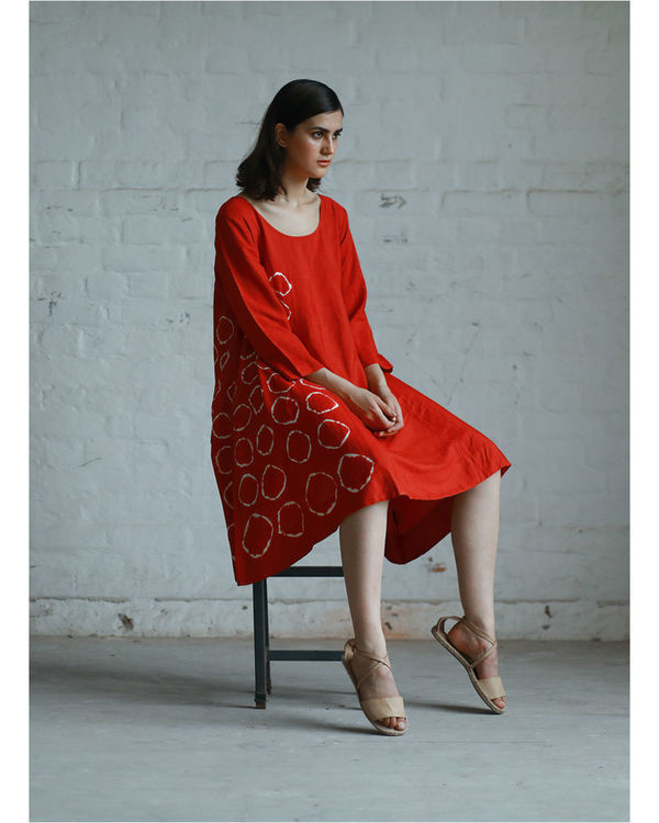 Red shibori flared dress 3