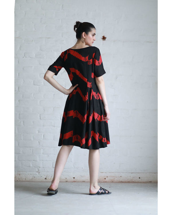 Red and black shibori dress 1