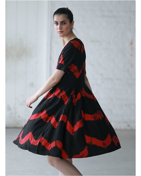 Red and black shibori dress 2