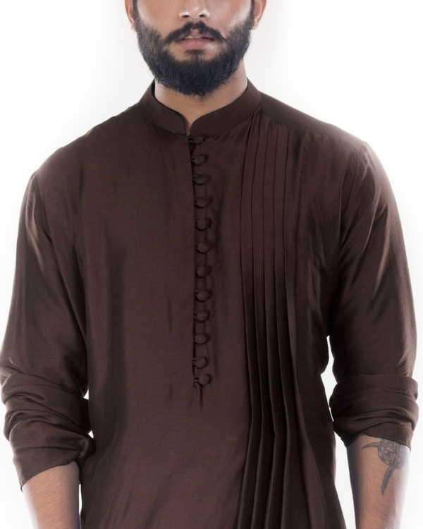 Cedar brown cowl draped kurta with churidar pants 1