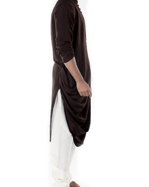 Cedar brown cowl draped kurta with churidar pants 2