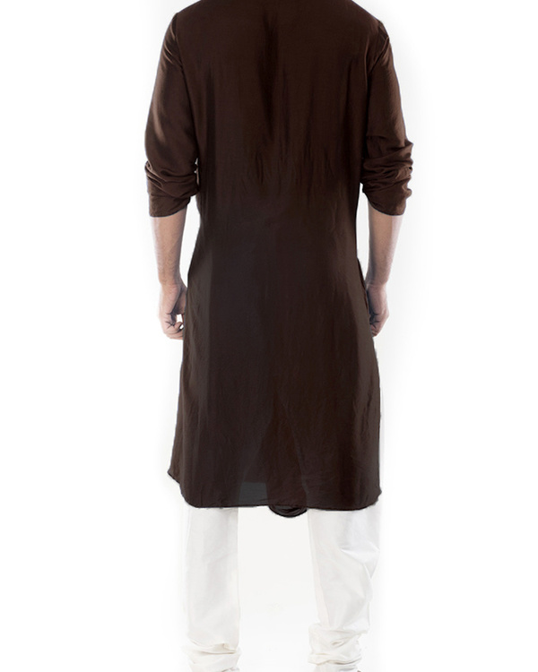 Cedar brown cowl draped kurta with churidar pants 3