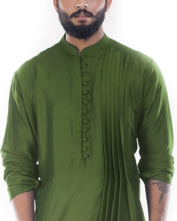 Moss green cowl draped kurta with churidar pants 1
