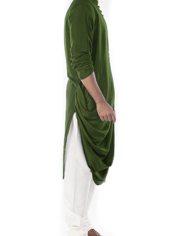 Moss green cowl draped kurta with churidar pants 2