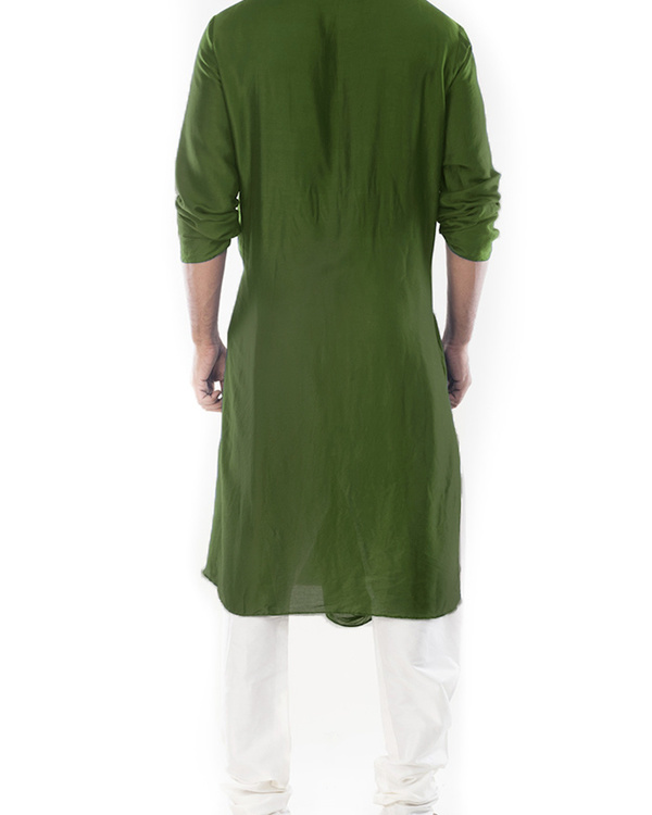 Moss green cowl draped kurta with churidar pants 3