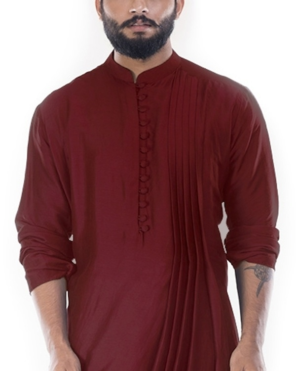 Rosewood cowl draped kurta with churidar pants 1