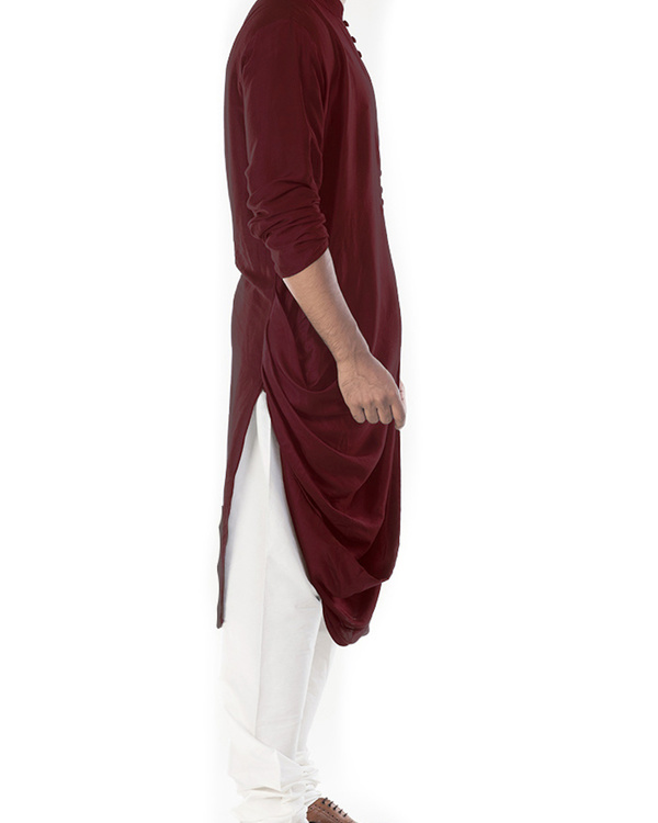 Rosewood cowl draped kurta with churidar pants 2
