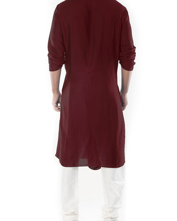Rosewood cowl draped kurta with churidar pants 3