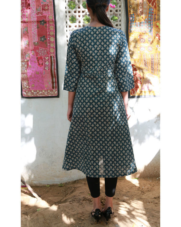 Teal blue pin tuck flared tunic 2