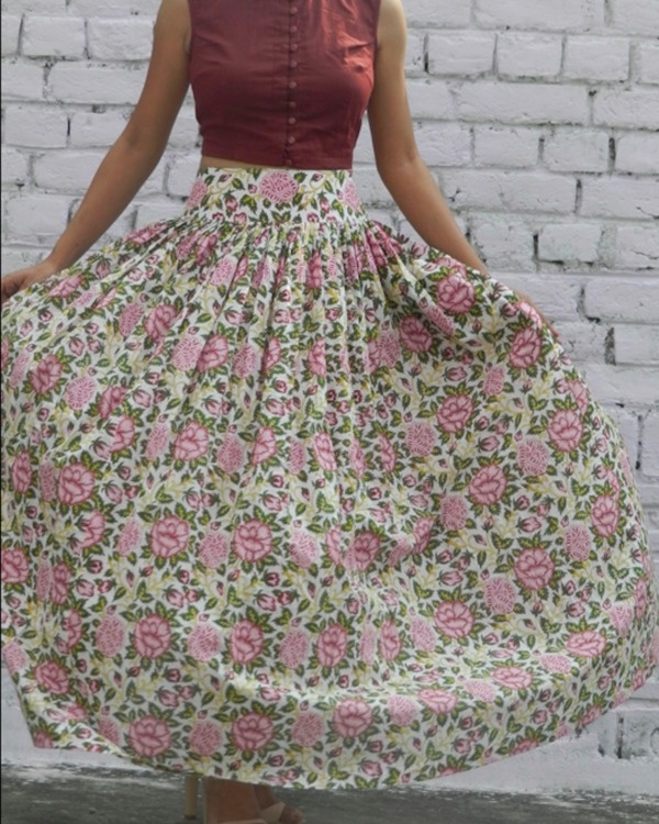 Rose garden skirt with marsala crop top set 1