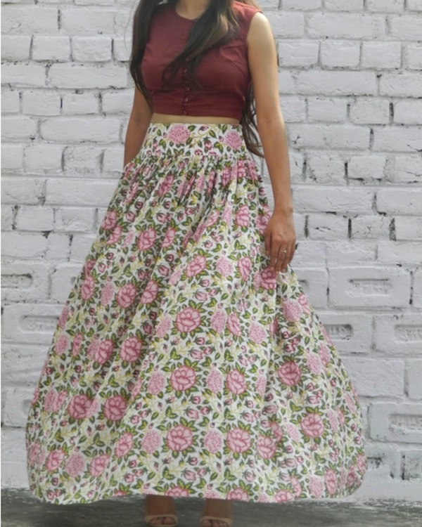 Rose garden skirt with marsala crop top set 2