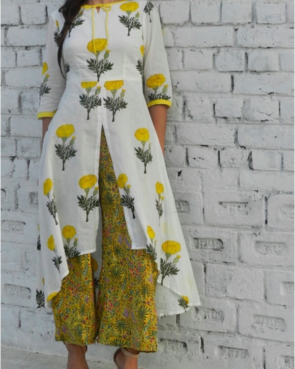 Yellow mogra high low cape with pants 1