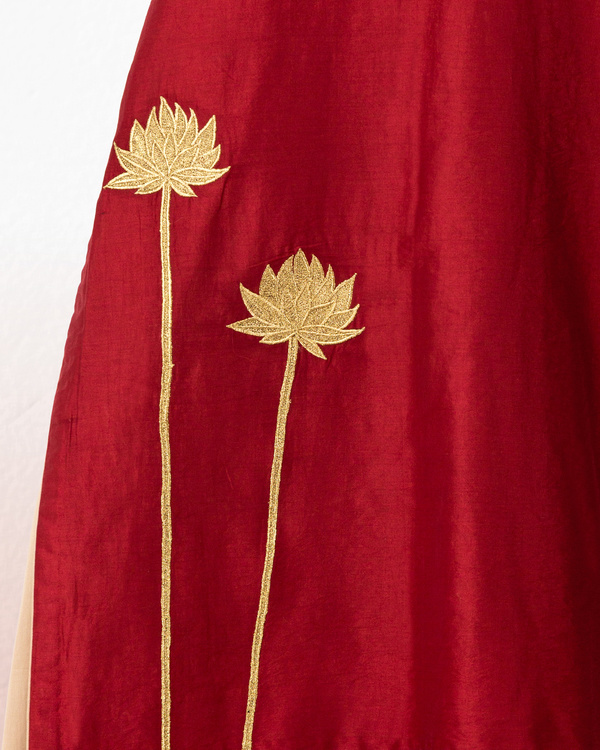 Rust chanderi kurta with beige gold palazzo 1
