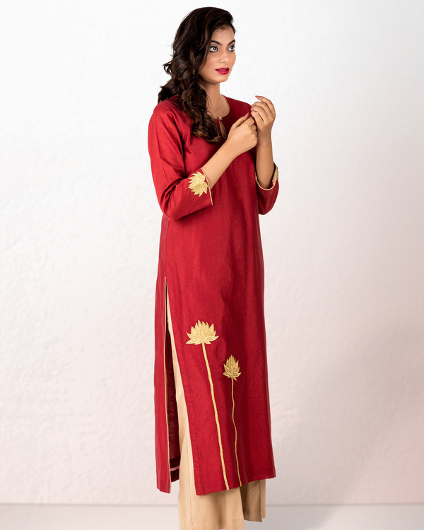 Rust chanderi kurta with beige gold palazzo 2