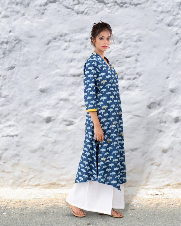 Indigo hand block cotton kurta 2