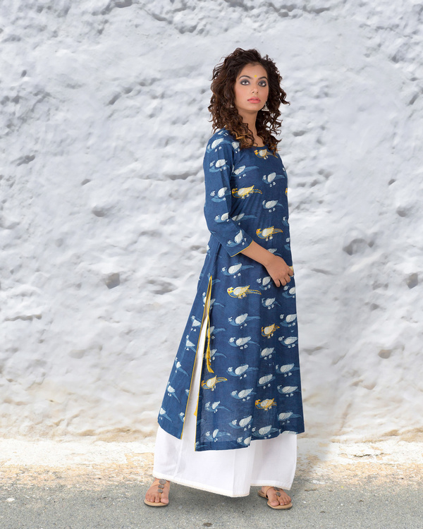 Indigo hand block cotton kurta with thread highlights 2