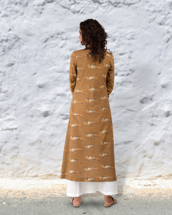 Turmeric colour hand block cotton kurta with thread highlights 3