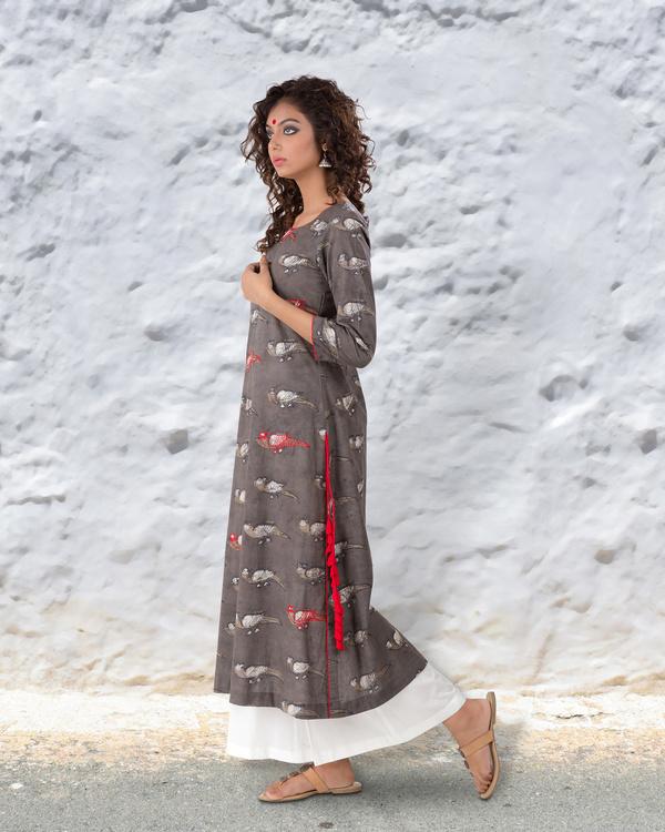 Grey brown hand block cotton kurta with thread highlights 2