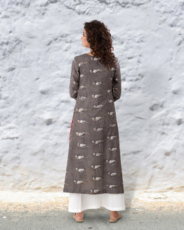 Grey brown hand block cotton kurta with thread highlights 3