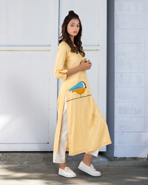 Light yellow straight kurta 2