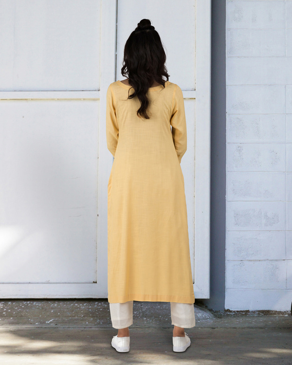 Light yellow straight kurta 3