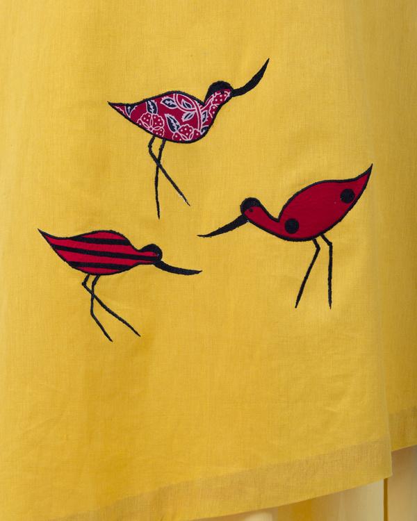 Yellow a-line asymmetrical hem dress 1