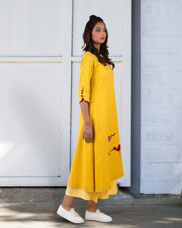 Yellow a-line asymmetrical hem dress 2